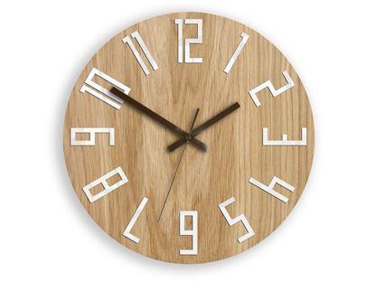 Zegar drewniany Slim Biało-Brązowy