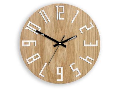 Zegar drewniany Slim Biało-Czarny
