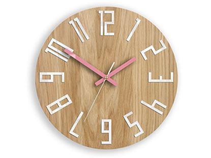 Zegar drewniany Slim Biało-Różowy