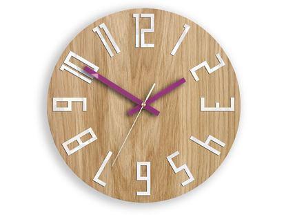 Zegar drewniany Slim Biało-Fioletowy