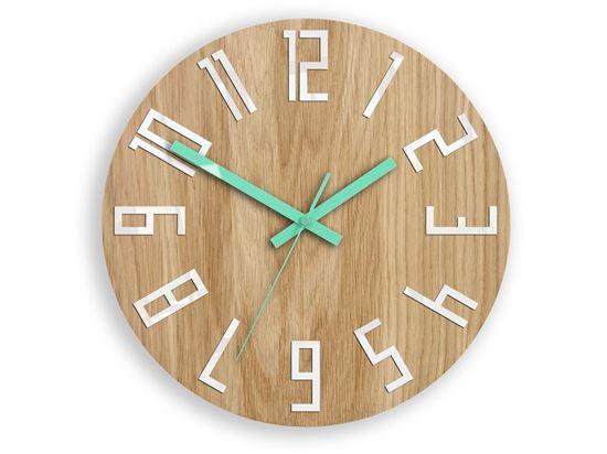 Zegar drewniany Slim Biało-Miętowy