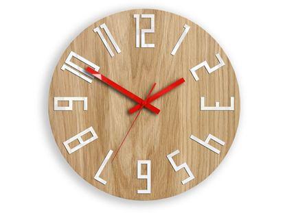 Zegar drewniany Slim Biało-Czerwony