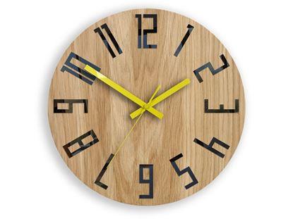 Zegar drewniany Slim Czarno-Żółty
