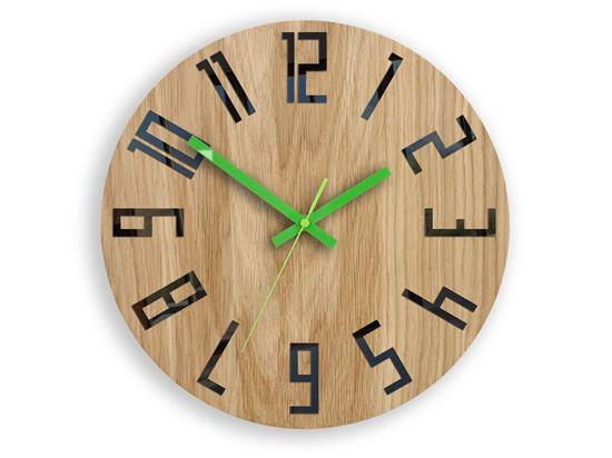 Zegar drewniany Slim Czarno-Zielony