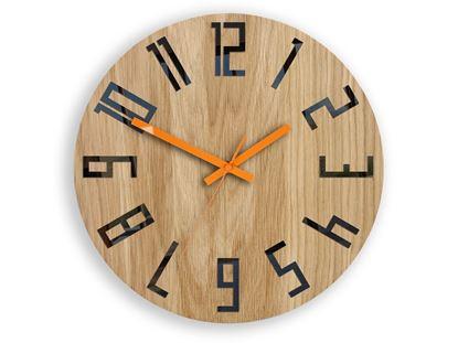 Zegar drewniany Slim Czarno-Pomarańczowy