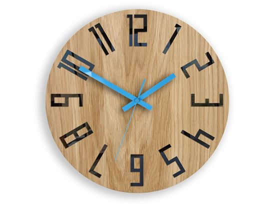 Zegar drewniany Slim Czarno - Niebieski