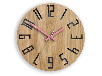 Zegar drewniany Slim Czarno - Różowy