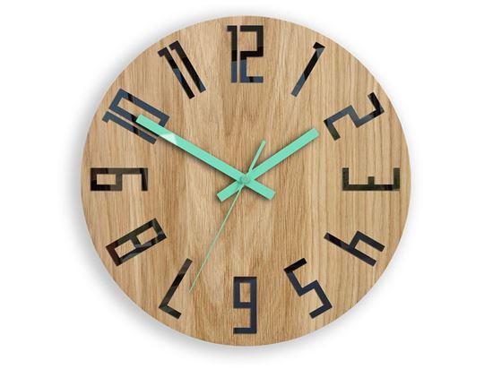 Zegar drewniany Slim Czarno - Miętowy