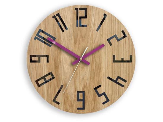 Zegar drewniany Slim Czarno - Fioletowy