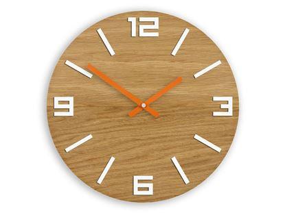 Zegar drewniany Arabik Biało-Pomarańczowy