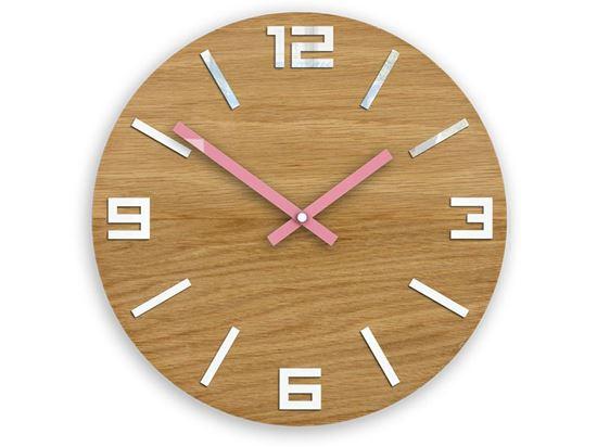 Zegar drewniany Arabik Biało - Różowy