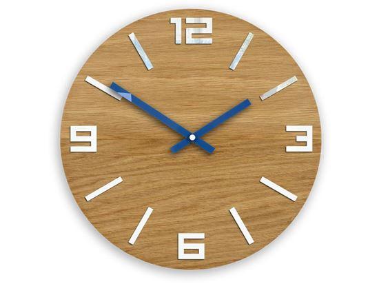 Zegar drewniany Arabik Biało - Niebieski