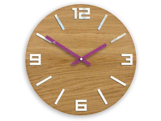 Zegar drewniany Arabik Biało - Fioletowy