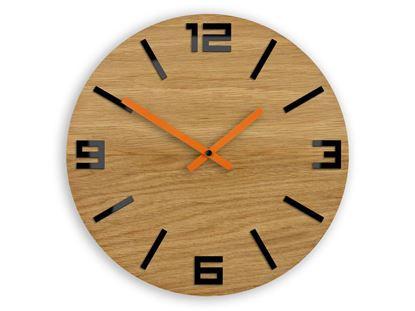Zegar drewniany Arabik Czarno - Pomarańczowy