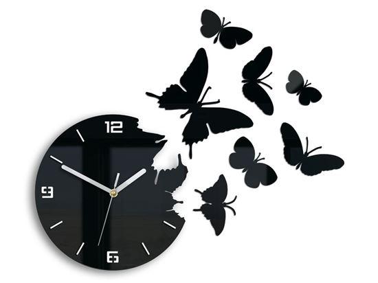 Zegar ścienny Motyl 3D czarny