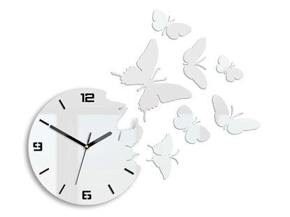 Zegar ścienny Motyl 3D biały
