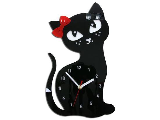 Zegar ścienny Kotek Czarny