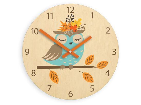 Zegar ścienny Jesiena Sowa