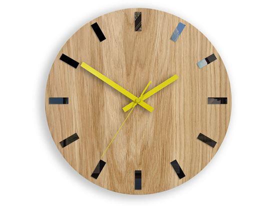Zegar ścienny Drewniany Dąb SIMPLE BLACK&YELLOW