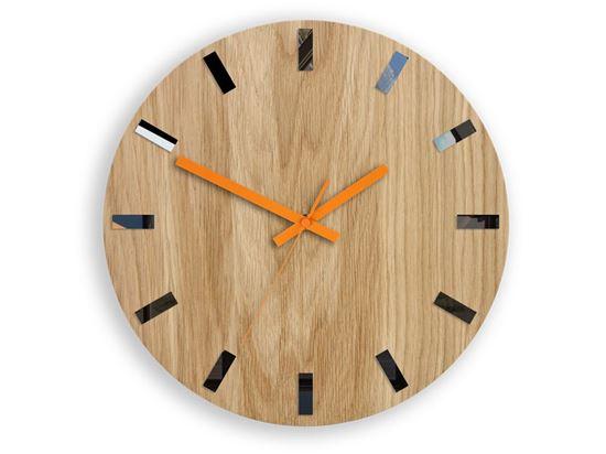Zegar ścienny Drewniany Dąb SIMPLE BLACK&ORANGE