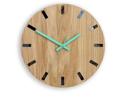 Zegar ścienny Drewniany Dąb SIMPLE BLACK&MINT