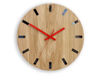 Zegar ścienny Drewniany Dąb SIMPLE BLACK&RED