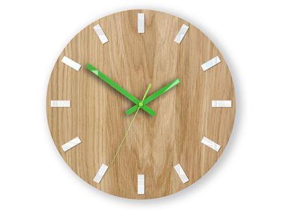Zegar ścienny Dąb SIMPLE Biało - Zielony