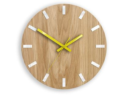Zegar ścienny Dąb SIMPLE Biało - Żółty