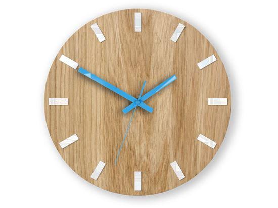 Zegar ścienny Dąb SIMPLE Biało - Niebieski