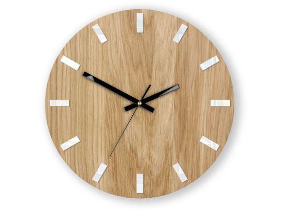Zegar ścienny Dąb SIMPLE Biało - Czarny