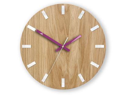 Zegar ścienny Dąb SIMPLE Biało - Fioletowy