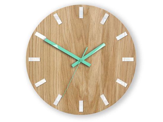 Zegar ścienny Dąb SIMPLE Biało - Miętowy