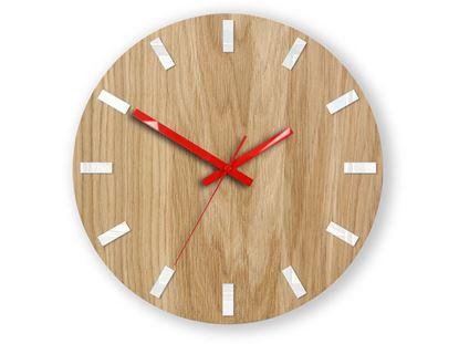 Zegar ścienny Dąb SIMPLE Biało - Czerwony