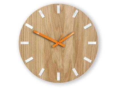 Zegar ścienny Dąb SIMPLE Biało - Pomarańczowy