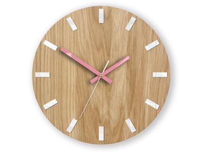 Zegar ścienny Dąb SIMPLE Biało - Różowy