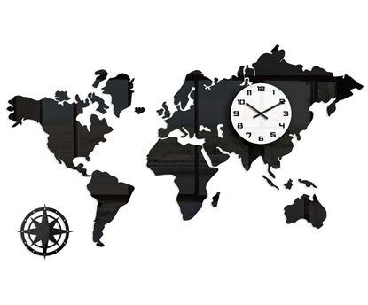 Zegar ścienny WORLD- Mapa Swiata Czarna 120 x70