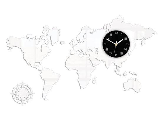 Zegar ścienny WORLD- Mapa Swiata Biała 120x70