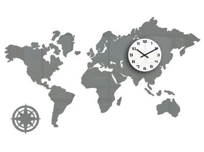 Zegar ścienny WORLD- Mapa Swiata Szara 120x70