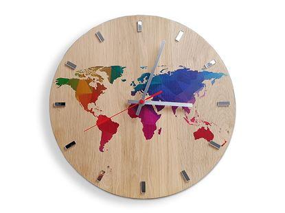 Zegar scienny Drewniany Mapa Kolor