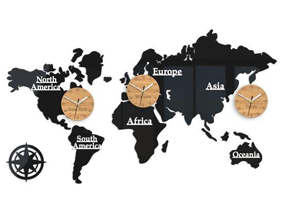 Zegar ścienny Mapa 3 strefy bambus