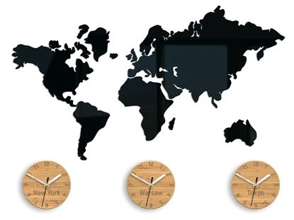Zegar ścienny Mapa 3 strefowa Bambus 70 x 51