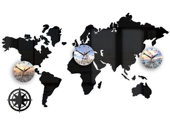 Zegar ścienny Mapa 100 x 56 nadruk tarcze