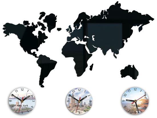 Zegar ścienny Mapa 70 x 51 nadruk tarcze