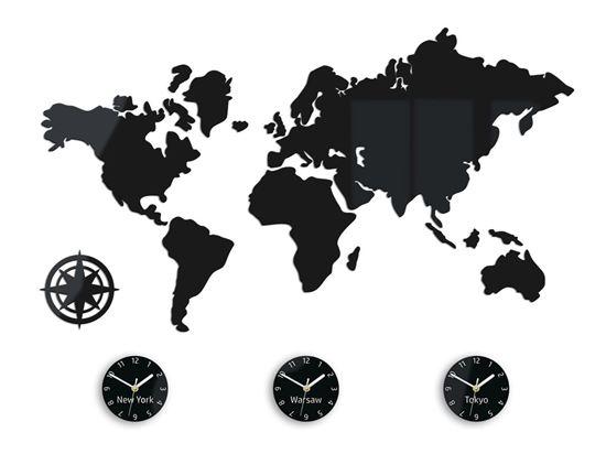 Zegar ścienny Mapa Swiata 3 strefy czarna 100x 56