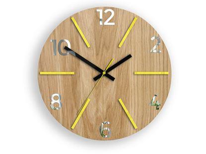 Zegar drewniany Aksel Żółto - Lustrzany