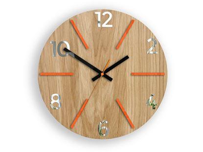 Zegar drewniany Aksel Pomarańczowo - Lustrzany