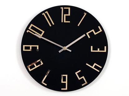 Zegar ścienny Slim Czarny Mat - Złote Lustro
