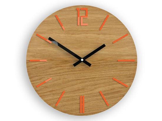 Zegar drewniany Carlo pomarańczowy
