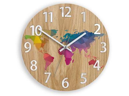 Zegar ścienny drewniany Mapa wielokolorowa