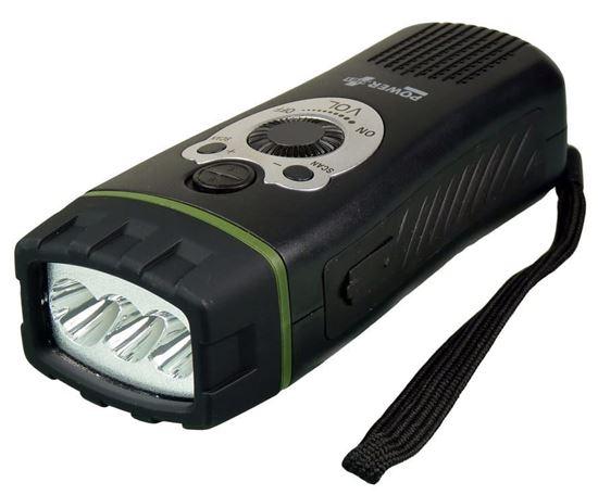 POWERplus Wolf - latarka na dynamo z radiem i alarmem dźwiękowym